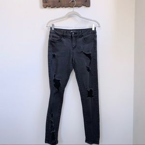 Super Distressed Faded Skinny Jeans